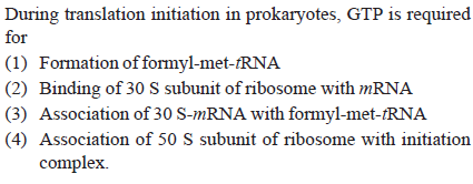 During translation initiation in prokaryotes, GTP is required for (1) Formation of formyl-met-RNA (2) Binding of 30 S subunit of ribosome with mRNA (3) Association of 30 S-mRNA with formyl-met-RNA (4) Association of 50 S subunit of ribosome with initiation complex.