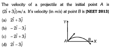 The velocity of a projectile at the initial point A is (21+3)m/s. It's velocity (in m/s) at point B is INEET 2013] (a) 21+3) (b) -2i-3) (c) -2i+3 (d) 2i -3j