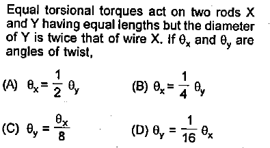 Equal torsional torques act on two rods X and Y having equal iengths but the diameter of Y is twice that of wire X. ífex and θ, are angles of twist,