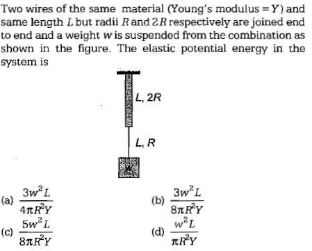 Two wires of the same material (Young's modulus = Y) and same length L but radii R and 2 R respectively are joined end to end and a weight w is suspended from the combination as shown in the figure. The elastic potential energy in the system is L, R (b) 3w2z w2L nR2y 3w2L 5w2L