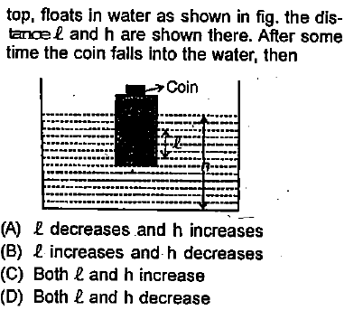 top, floats in water as shown in fig. the dis- tanoe and h are shown there. After some time the coin falls into the water, then Coin (A) R decreases and h increases (B) L increases and h decreases (C) Both 2 and h increase (D) Both and h decrease