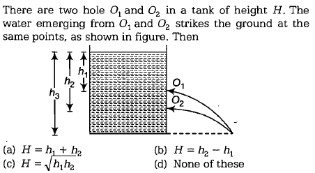 There are two hole O, and 02 in a tank of height H. The water emerging from O, and O2 strikes the ground at the same points, as shown in figure. Then 2 2 (a) H= h1 + h2 (b) H= h2-h1 (d) None of these