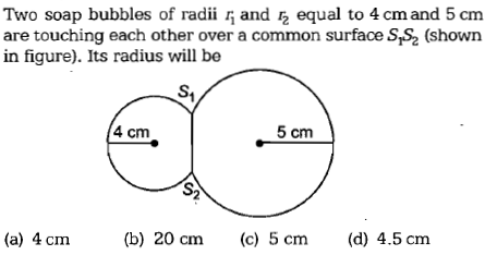 Two soap bubbles of radii , and equal to 4 cm and 5 cm are touching each other over a common surface S,S2 (shown in figure). Its radius will be S, 4 cm 5 cm (a) 4 cm (b) 20 cm (c) 5 cm (d) 4.5 cm