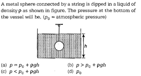 A metal sphere connected by a string is dipped in a liquid of density ρ as shown in figure. The pressure at the bottom of the vessel will be, (po atmospheric pressure) (a) p = po + pgh (b) p > Po + pgh (d) Po