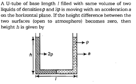 A U-tube of base length I filled with same volume of two liquids of densities ρ and 2ρ is moving with an acceleration a on the horizontal plane. If the height difference between the two surfaces (open to atmosphere) becomes zero, then height h is given by