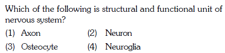 Which of the following is structural and functional unit of nervous system? (1) Axon (3) Osteocyte (2) Neuron 4) Neuroglia