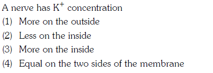 A nerve has K concentration (1) More on the outside (2) Less on the inside (3) More on the inside (4) Equal on the two sides of the membrane