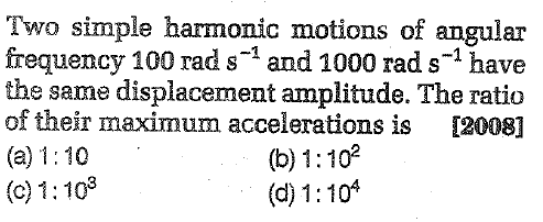 Two simple harmonic motions of angular frequency 100 rad s-1 and 1000 rad s 1 have the same displacement amplitude. The ratio of their maximum accelerations is 12008]