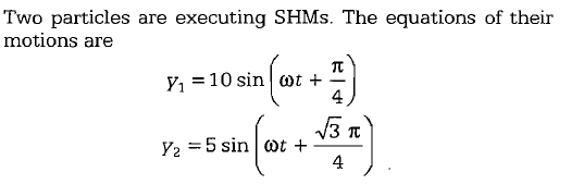 Two particles are executing SHMs. The equations of their motions are 4 4