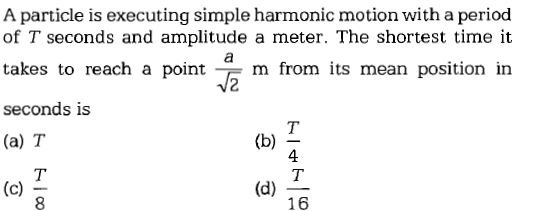 A particle is executing simple harmonic motion with a period of T seconds and amplitude a meter. The shortest time it takes to reach a point seconds is (a) T 4 (d) 一 16 8