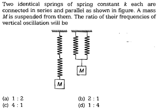 Two identical springs of spring constant k each are connected in series and parallel as shown in figure. A mass M is suspended from them. The ratio of their frequencies of vertical oscillation will be (b) 2 1