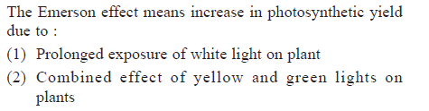 The Emerson effect means increase in photosynthetic yield due to (1) Prolonged exposure of white light on plant (2) Combined effect of yellow and green lights on plants