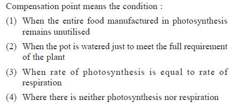 Compensation point means the condition (1) When the entire food manufactured in photosynthesis (2) When the pot is watered just to meet the full requirement (3) When rate of photosynthesis is equal to rate of 4) Where there is neither photosynthesis nor respiration remains unutilised ot the plant respiration