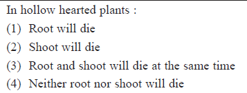 In hollow hearted plants: (1) Root will die (2) Shoot will die (3) Root and shoot will die at the same time 4) Neither root nor shoot will die