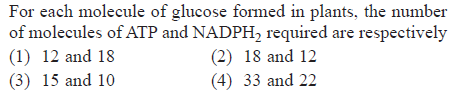 For each molecule of glucose formed in plants, the number of molecules of ATP and NADPH2 required are respectively (1) 12 and 18 (3) 15 and 10 (2) 18 and 12 (4) 33 and 22
