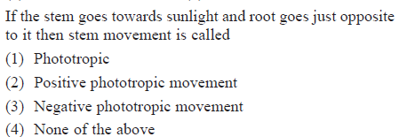 goes towards sunlight and root goes just opposite If the stem to it then stem movement is called (1) Phototropic 2) Positive phototropic movement (3) Negative phototropic movement (4) None of the above