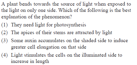 A plant bends towards the source of light when exposed to the light on only one side. Which of the following is the best explanation of the phenomenon? (1) They need light for photosynthesis (2) The apices of their stems are attracted by light (3) Some auxin accumulates on the shaded side to induce greater cell elongation on that side (4) Light stimulates the cells on the illuminated side to increase in length