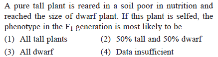 A pure tall plant is reared in a soil poor in nutrition and reached the size of dwarf plant. If this plant is selfed, the phenotype in the F1 generation is most likely to be (1) All tall plants (3) All dwarf (2) 50% tall and 50% dwarf (4) Data insufficient
