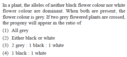 In a plant, the alleles of neither black flower colour nor white flower colour are dominant. When both are present, the flower colour is grey. If two grey flowered plants are crossed, the progeny will appear in the ratio of (1) All grey (2) Either black or white (3) 2 pcy 1 black1 wbii (4) 1 black: 1 white