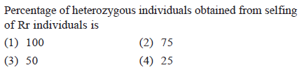 Percentage of heterozygous individuals obtained from selfing of Rr individuals is (1) 100 (3) 50 (2) 75 (4) 25