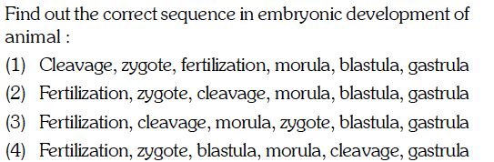 Find out the correct sequence in embryonic development of animal (1) Cleavage, zygote, fertilization, morula, blastula, gastrula (2) Fertilization, zygote, cleavage, morula, blastula, gastrula (3) Fertilization, cleavage, morula, zygote, blastula, gastrula (4) Fertilization, zygote, blastula, morula, cleavage, gastrula