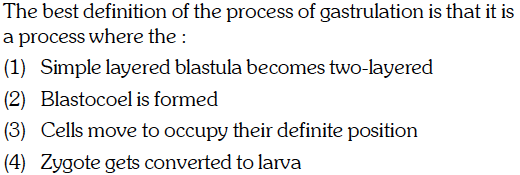 The best definition of the process of gastrulation is that it is a process where the: (1) Simple layered blastula becomes two-layered (2) Blastocoel is formed (3) Cells move to occupy their definite position (4) Zygote gets converted to larva