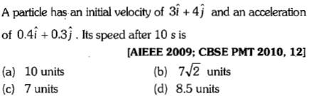 A particle has an initial velocity of 31 +4j and an acceleration of 0.4î +0.3j. Its speed after 10 s is AIEEE 2009; CBSE PMT 2010, 12] (a) 10 units (c) 7 units (b) 7/2 units (d) 8.5 units