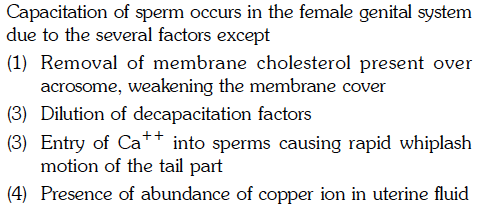 due to the several factors except (1) Removal of membrane cholesterol present over acrosome, weakening the membrane cover (3) Dilution of decapacitation factors (3) Entry of Ca into sperms causing rapid whiplash motion of the tail part (4) Presence of abundance of copper ion in uterine fluid