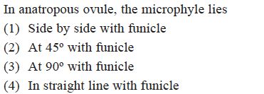 In anatropous ovule, the microphyle lies (1) Side by side with funicle (2) At 45° with funicle (3) At 90° with funicle (4) In straight line with funicle