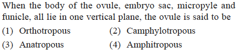 When the body of the ovule, embryo sac, micropyle and funicle, all lie in one vertical plane, the ovule is said to be (1) Orthotropous (3) Anatropous (2) Camphylotropou (4) Amphitropous