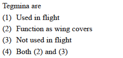 Tegmina are (1) Used in flight (2) Function as wing covers (3) Not used in flight (4) Both (2) and (3)