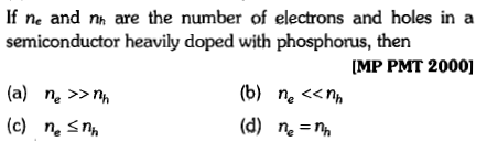 If ne and nh are the number of electrons and holes in a semiconductor heavily doped with phosphorus, then MP PMT 2000] (a) n, >>nh (c) n. Sn