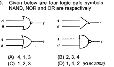 Given below are four logic gate symbols. NAND, NOR and OR are respectively (B) 2, 3,4 (D) 1,4,2 (KUK 2002)