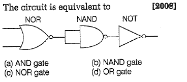 The circuit is equivalent to [2008] NOR NAND NOT (a) AND gate (c) NOR gate (b) NAND gate (d) OR gate