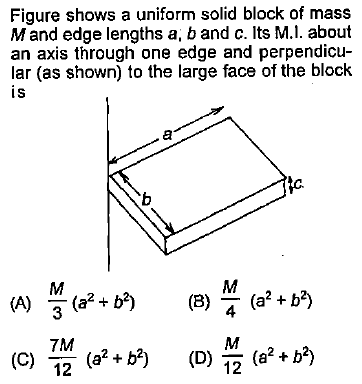 Figure shows a uniform solid block of mass Mand edge lengths a, b and c. Its M.l. about an axis through one edge and perpendicu- lar (as shown) to the large face of the block is 7M (0) 12 ((0) 2 ('. D)