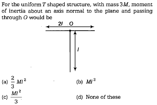 For the uniform T shaped structure, with mass 3M, moment of inertia about an axis normal to the plane and passing through O would be 21 O (a)-M12 (b) M/2 3 Ml (d) None of these 3