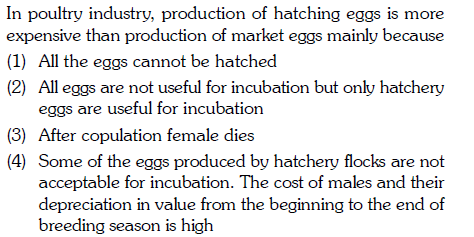 In poultry industry, production of hatching eggs is more expensive than production of market eggs mainly because (1) All the eggs cannot be hatched (2) All eggs are not useful for incubation but only hatchery eggs are useful for incubation (3) After copulation female dies (4) Some of the eggs produced by hatchery flocks are not acceptable for incubation. The cost of males and their depreciation in value from the beginning to the end of breeding season is high