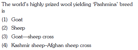 The world's highly prized wool yielding 'Pashmina' breed 1S (1) Goat (2) Sheep (3) Goat sheep cross (4) Kashmir sheep-Afghan sheep cross