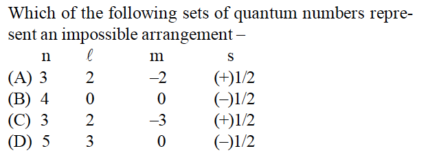 Which of the following sets of quantum numbers repre- sent an impossible arrangement 2 ( 0 (A) 3 2 (B) 4 0 (C) 3 2 (D) 5 3 0