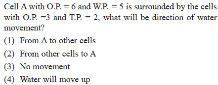 1s surrounded by the ce W1 with O.P-3 and TP-2, what will be direction of water movement? (1) From A to other cells (2) From other cells to A (3) No movement 4) Water will move up