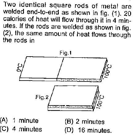 Two identical square rods of metal are welded end-to-end as shown in fig. (1). 20 calories of heat will flow through it in 4 min- utes. If the rods are welded as shown in fig (2), the same amount of heat flows through the rods in Fig. 1 Fig.2 (A) 1 minute (C) 4 minutes (B) 2 minutes (D) 16 minutes.
