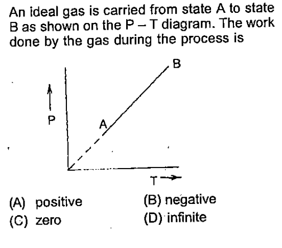 An ideal gas is carried from state A to state B as shown on the P T diagram. The work done by the gas during the process is (A) positive (C) zero (B) negative (D) infinite
