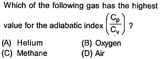 Which of the following gas has the highest value for the adiabatic index (A) Helium (B) Oxygen (D) Air (C) Methane