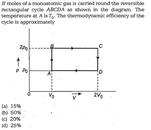 N moles of a monoatomic gas is carried round the reversible rectangular cycle ABCDA as shown in the diagram. The temperature at A is To- The thermodynamic efficiency of the cycle is approximately 2po P Po Ai (a) 15% (b) 50% (C) 2096 .. (d) 25%