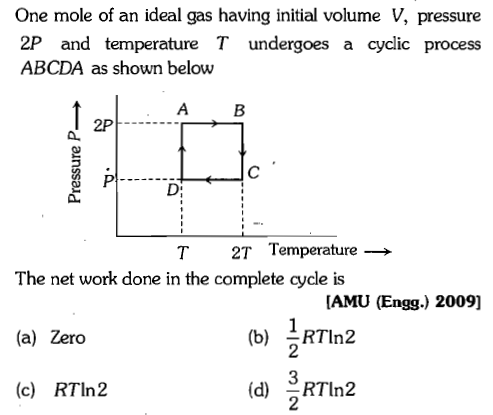 One mole of an ideal gas having initial volume V, pressure 2P and temperature T undergoes a cycdic process ABCDA as shown below A B 2P T 2T Temperature→ The net work done in the complete cycle is (a) Zero (c) RTln2 [AMU (Engg.) 2009] (b) RTIn2 2