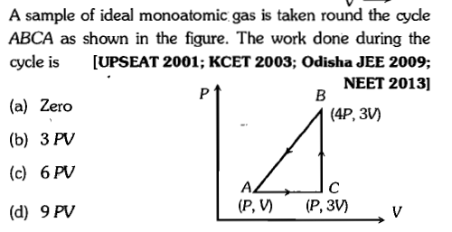 A sample of ideal monoatomic gas is taken round the cycle ABCA as shown in the figure. The work done during the cycle is [UPSEAT 2001; KCET 2003; Odisha JEE 2009; NEET 2013] (a) Zero (b) 3 PV (c) 6 PV (P, V (P, 3V) v (d) 9 PV