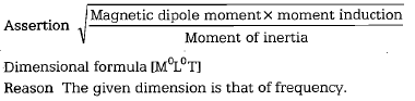 Magnetic dipole moment× moment induction Assertion A Moment of inertia Dimensional formula 1T is that of frequency.