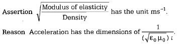 s of elasticitY has the unit ms- Density Assertion Reason Acceleration has the dimensions of (VEoHo)