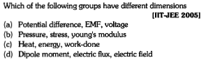 Which of the following groups have different dimensions UIT-JEE 20051 (a) Potential difference, EMF, voltage (b) Pressure, stress, young's modulus (c) Heat, energy, work-done (d) Dipole moment, electric flux, electric field