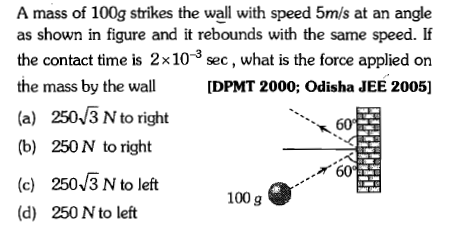 A mass of 100g strikes the wall with speed 5m/s at an angle as shown in figure and it rebounds with the same speed. If the contact time is 2x10-3 sec, what is the force applied on the mass by the wall [DPMT 2000; Odisha JEE 2005] (a) 2503 N to right (b) 250N to right 60 60 (c) 250/3 N to left (d) 250 N to left 100 g